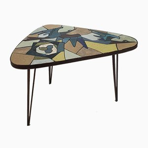 Mid-Century Italian Tile Art Side Table, 1950s