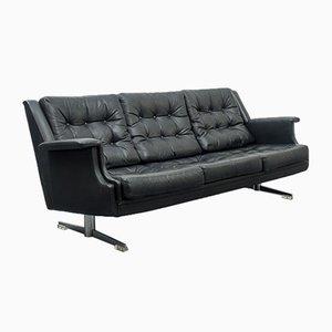 Leather Sofa with Chrome Feet, 1960s