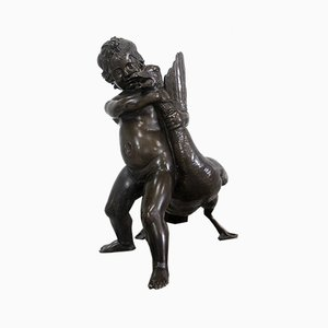 Bronze of a Cherub Holding a Goose by A. Collas, 19th Century