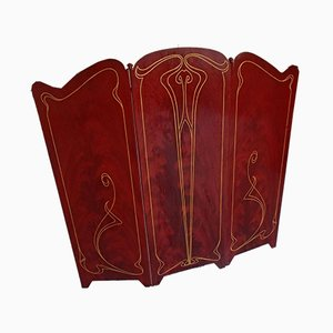 Cubierta para chimenea plegable de partición Art Nouveau antigua