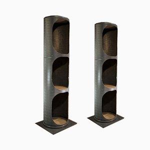 Metall Säulen, 1960er, 2er Set