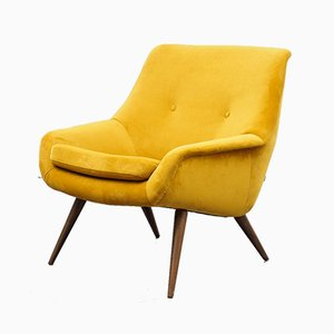 Yellow Velvet Ball Chair, 1950s