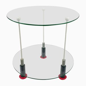 Glass and Wood Side Table, 1980s
