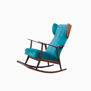 Petrol Blue Rocking Chair with Ears, 1950s