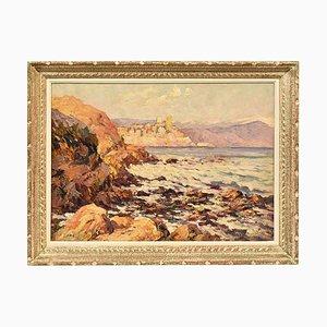 Petit tableau de paysage marin, huile sur toile, début XXe siècle