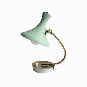 Mid-Century Green Brass Table Lamp in the style of Stilnovo, 1950s