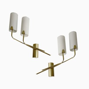 Large Italian Mid-Century Sconces in Opaline Glass and Brass, 1960s, Set of 2