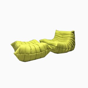Vintage Green Togo Lounge Chair & Footstool by Michel Ducaroy for Ligne Roset, Set of 2