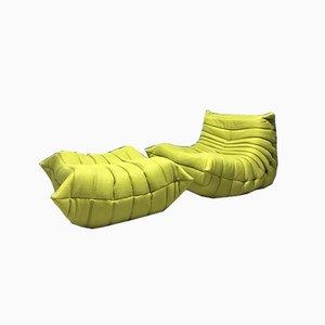 Vintage Green Togo Lounge Chair & Fußschemel von Michel Ducaroy für Ligne Roset, 2er Set