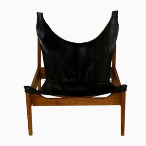 Teak and Leather Lounge Chair, 1960s
