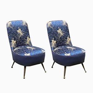 Blaue Sessel mit Liberty-Motiv, 1950er Jahre, 2er-Set