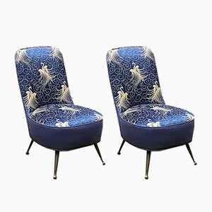 Blue Armchairs with Liberty Motif, 1950s, Set of 2