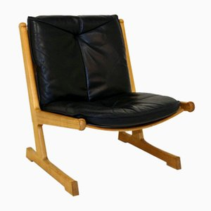 Oak and Leather Cado Lounge Chair, 1970s