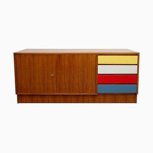 Walnuss Sideboard mit bunten Schubladen, 1960er Jahre
