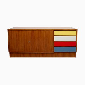 Walnut Sideboard with Colorful Drawers, 1960s