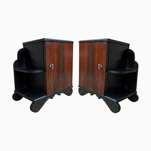 Art Deco Side Cabinets or Nightstands with Ebonized Base and Burl Walnut, 1960s, Set of 2