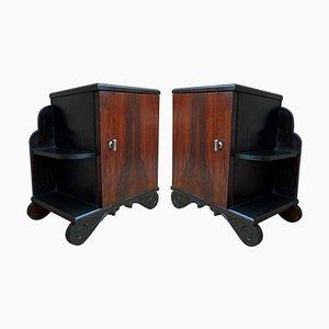 Muebles auxiliares o mesitas de noche Art Déco con base ebonizada y nogal burl, años 60.Juego de 2