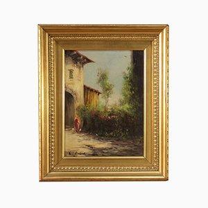 Luigi Bosio, paisaje italiano, óleo sobre tabla, siglo XX