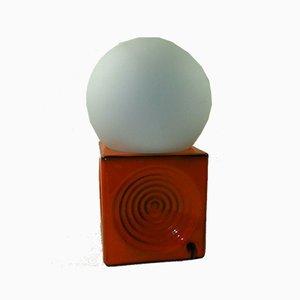 Lampada cubo in ceramica arancione, anni '70