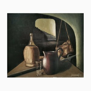 Y. Doriot, Still Life, 1958, Oil On Board