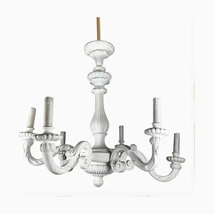 White Lacquered Chandelier, 1920s