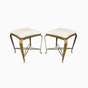Italian Stools in Iron and Gold Leaf by Pier Luigi Colli, 1950s, Set of 2