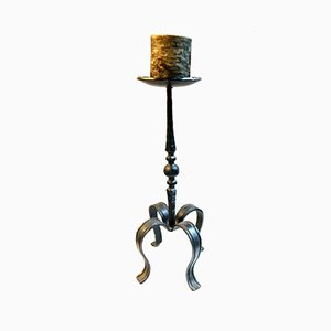 Handcrafted Wrought Iron Floor Candleholder, 1970's