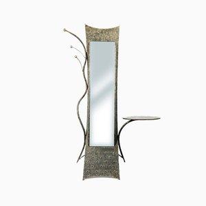 Specchio in ferro battuto lavorato a mano con tavolo, Francia, anni '70