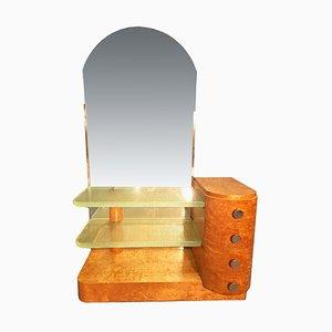 Tocador de madera clara con baldosas de vidrio, años 40
