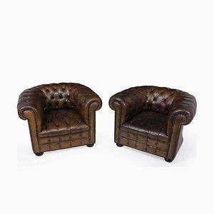 Club chair Chesterfield in pelle, Regno Unito, anni '60, set di 2