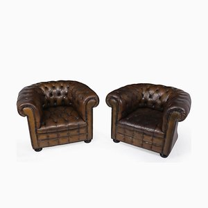 English Leather Chesterfield Club Chairs, 1960s, Set of 2