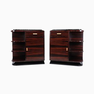 French Art Deco Macassar Ebony Cabinets, Set of 2