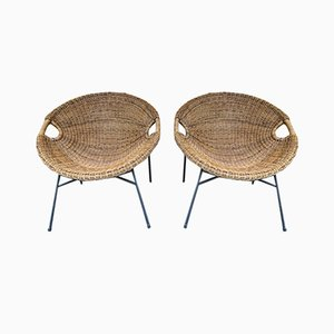 Italian Rattan Bucket Lounge Chairs, 1950s, Set of 2