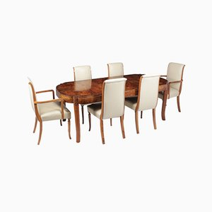 English Art Deco Walnut Dining Chairs, 1930s, Set of 7