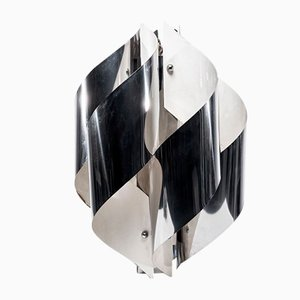 Italian Twisted Chromed Metal Lamp by Gaetano Sciolari, 1970s