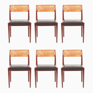 Teak and Cane Side Chairs by Erik Wørts for Erik Wørts Mobelfabrik, 1950s, Set of 6