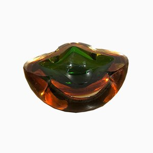 Orange and Green Murano Glass Ashtray, 1970s