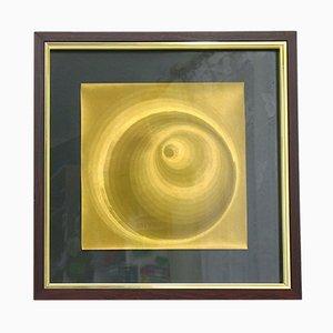 Póster gráfico con holograma dorado, años 70