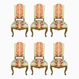 Antike Louis XV Nussholz Esszimmerstühle mit hohen Rückenlehnen, 6er Set
