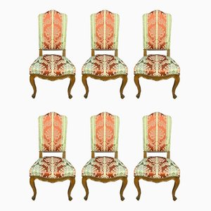 Antique Louis XV Walnut Dining Chairs with Highbacks, Set of 6