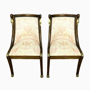 Mahogany and Gilded Wood Side Chairs, Set of 2