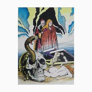 Comico Horror Mid-Century dipinto L'Esorcista, 1970
