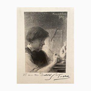 Inconnu - le sculpteur - Gravure originale - Début du XXe siècle