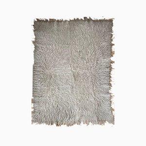 Tapis moelleux en laine blanc-gris clair tissé à la main roumain
