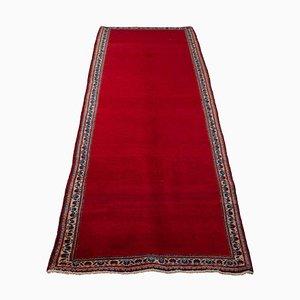 Floral Keshan Runner Rug in Dark Red with Border