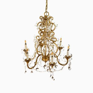 Maria Theresa Chandelier in Gilt Iron with Glass Pendants Drops, 1970s