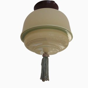 Bauhaus Bakelite Light Green Glass Ceiling Lamp, 1930s
