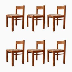 Sedie da pranzo Mid-Century in pino e giunco, anni '60, set di 6