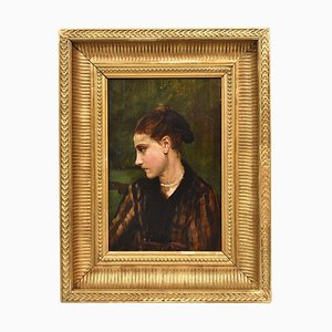 Francesco Gonin, Female Portrait, Oil Painting on Wood, 19th Century