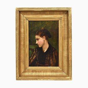 Francesco Gonin, retrato femenino, óleo sobre madera, del siglo XIX.